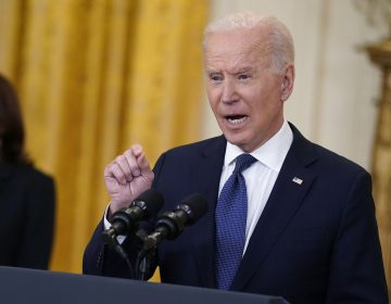 President Biden speaks about the economy at the White House Monday. The Biden administration is arguing that higher-than-expected inflation is temporary. (Evan Vucci/AP Photo)