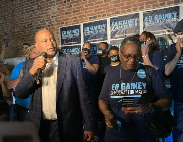 Ed Gainey giving his victory speech, after beating incumbent Bill Peduto in the Democratic primary for Pittsburgh mayor. (An-Li Herring/WESA)