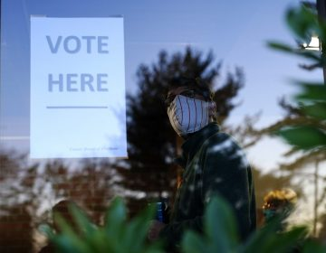 A voter lines up in a polling place to cast a ballot for the 2020 general election in the United States, Tuesday, Nov. 3, 2020, in Springfield, Pa. (Matt Slocum/AP Photo)