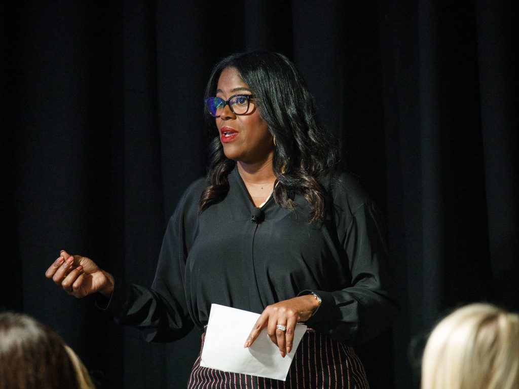 Thasunda Duckett, then an executive at JPMorgan Chase & Co., speaks during an investment conference in Dana Point, Calif., on Oct. 2, 2018. Duckett, currently the CEO of TIAA, says the Tulsa riots led to a erosion of trust by Blacks in the financial system. (Patrick T. Fallon/Bloomberg via Getty Images)