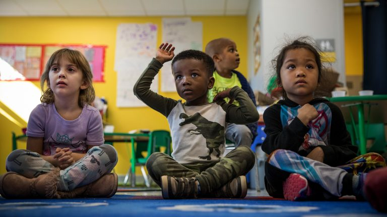 Noah Goliday in his pre-K class at Elsie Whitlow Stokes Community Freedom Public Charter School. A system launched in 2014-15 permits families to navigate the some 230 DCPS and charter school options in the city via a single online application, then matches students to their top choice schools via a groundbreaking algorithm that helped win it's creator the 2012 Nobel Prize in economics. (Photo by Evelyn Hockstein/For The Washington Post via Getty Images)