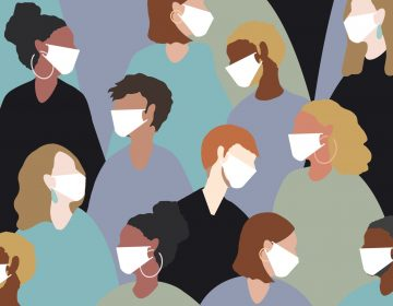 An illustration of many people wearing face masks