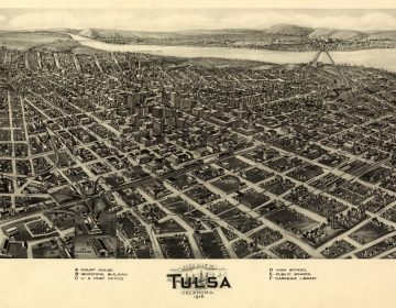 Artist Paul Rucker is creating a new multimedia work to commemorate the 100th anniversary of the Tulsa Race Massacre. That's when a thriving African American community was destroyed in a horrific act of violence that wiped out hundreds of Black-owned businesses and homes. Above, an aerial view of Tulsa, Okla., Fowler & Kelly, 1918. (GHI/Universal History Archive/Universal Images Group via Getty Images)