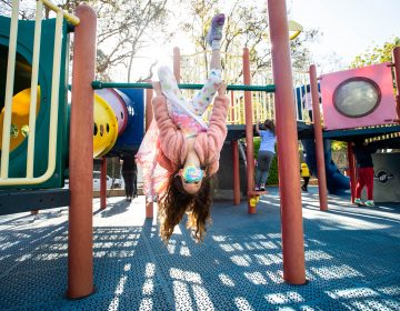 Robin Heilweil, 6, wears a mask while swinging around with her kindergarten class this month at Kenter Canyon School in Los Angeles. (Sarah Reingewirtz/Los Angeles Daily News/Southern California News Group via Getty Images)