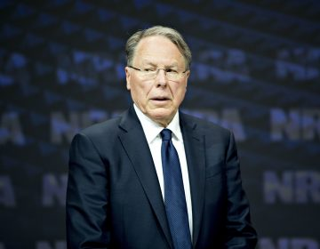 Wayne LaPierre, chief executive officer of the National Rifle Association, stands on stage after arriving at the NRA annual meeting in Dallas on May 5, 2018. (Daniel Acker/Bloomberg via Getty Images)