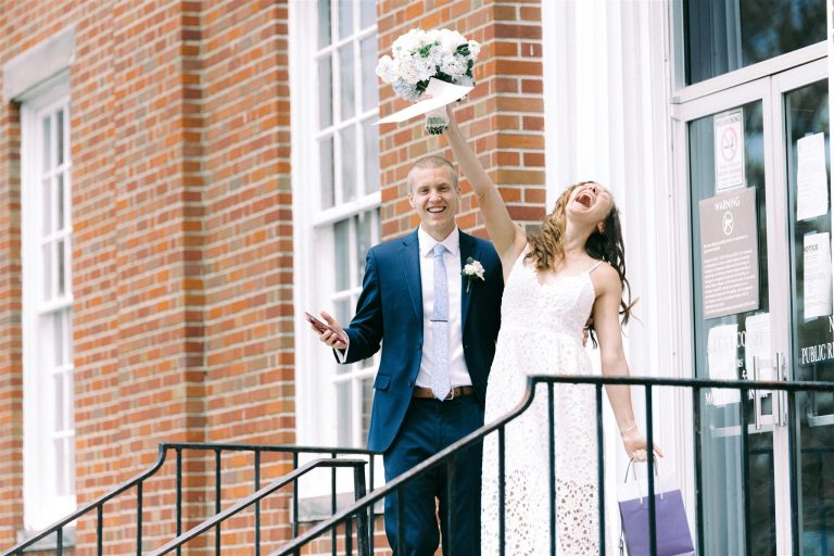 Laura Even and Brian Elliott were married at an Ohio courthouse in May 2020. After having to reschedule their large wedding celebration three times, they had their big event with friends and family on May 29, 2021. (Brittany Bays Photography)