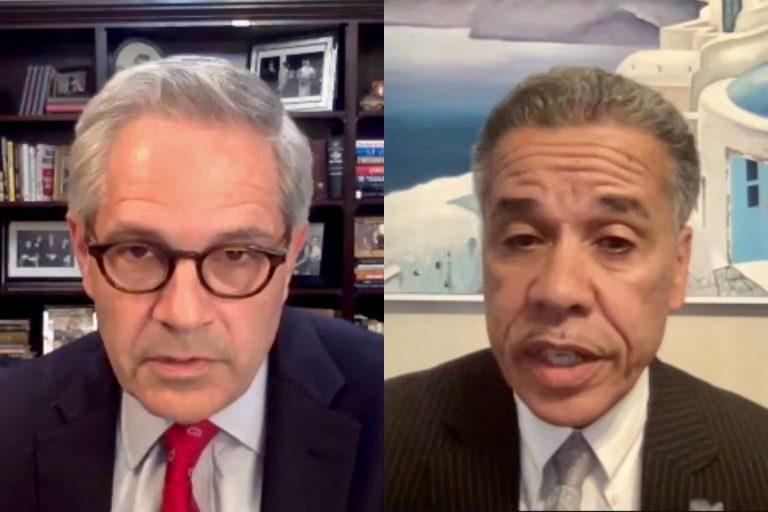 District Attorney Larry Krasner (left) and former Assistant District Attorney Carlos Vega. (Screenshot)