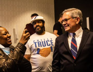 Philadelphia District Attorney Larry Krasner celebrates with supporters at his victory party. (Kimberly Paynter/WHYY)