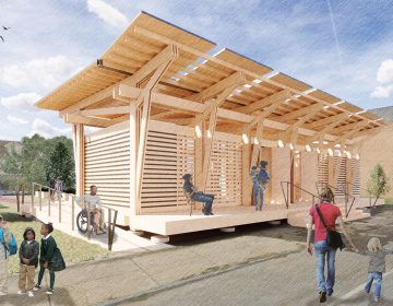 An artist's rendering of the Sala Keturah STEM Pavilion designed by Nyasha Felder and under construction at North Philly Peace Park. (Courtesy of North Philly Peace Park)