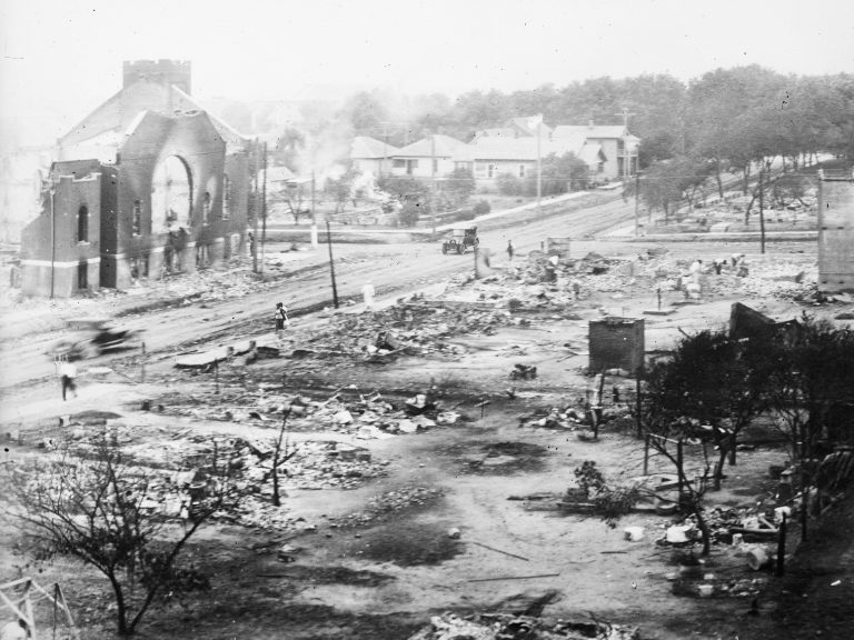 Destroyed buildings are pictured after a massive fire during the Tulsa Race Massacre
