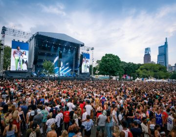 A large crowd gathers for the Made in America festival in 2019.