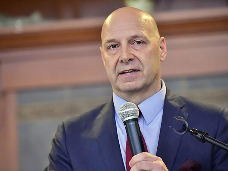 A closeup of Sen. Mastriano