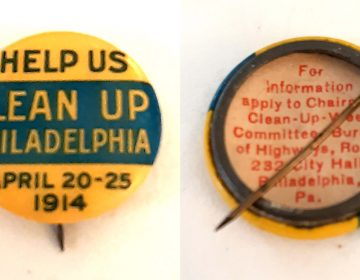 Philadelphia gave out 100,000 of these pins to schoolchildren to promote the citywide cleanup (Jack Burghart)