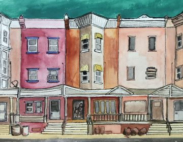 An illustration of Philly rowhouses