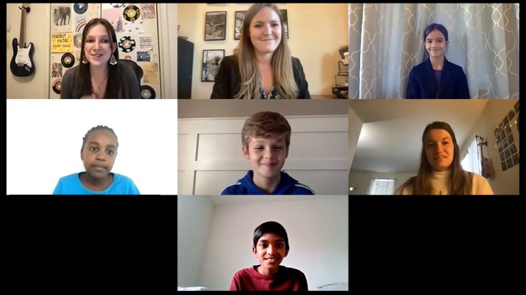 Students take part in the University of Delaware's Project Music, a music workshop program that moved online this year to help students maintain access to arts education. (Screenshot via Zoom)