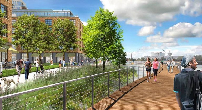 Artist renderings show plans for the redevelopment of the east side of the Wilmington Riverfront along the Christina River. (courtesy Friends of Riverfront Wilmington)