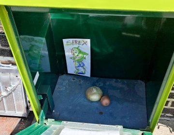 'Take a Shrek, leave a Shrek' on South 7th Street (Ximena Conde/WHYY)