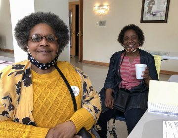 Patricia Davenport (L) and Marion Parks (R), poll workers at Sharon Baptist Church in West Philadelphia (Layla A. Jones / Billy Penn)