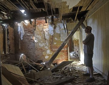 Patrick Duff, who has been fighting to save the house at 753 Walnut Street in Camden where Martin Luther King lived in 1950, inside the structure on June 10, 2021. (Photo by April Saul for WHYY)