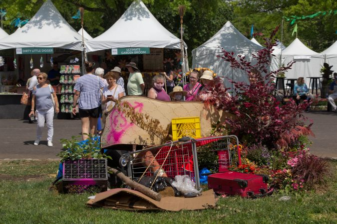 The 2021 Flower Show kicked off for Pennsylvania Horticultural Society members Friday June 4, and opens to the public Saturday. For the first time, the show is being held outdoors due to the COVID-19 pandemic at FDR Park in South Philadelphia. (Kimberly Paynter/WHYY)