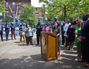 Philadelphia city councilmember and Chair of the Children and Youth Committee Helen Gym joined city leaders in asking for at least 50 million dollars in the city budget to keep recreational centers open later and provide counseling and jobs for young people as part of the Youth Powered Anti-Violence Agenda, announced at a press conference at Hawthorne Recreation Center in South Philadelphia on June 1, 2021. (Kimberly Paynter/WHYY)
