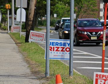 Signs for Republican candidates for governor dot a roadside in Toms River, N.J. (Emma Lee/WHYY)