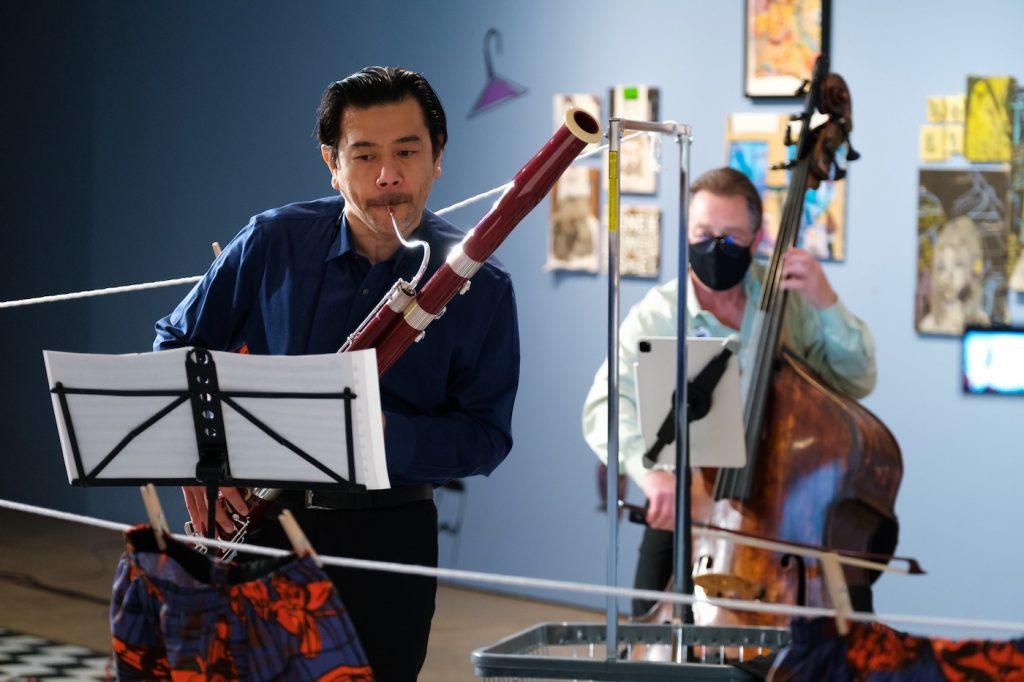 Daniel Matsukawa, on bassoon, and Harold Robinson, on bass, rehearse