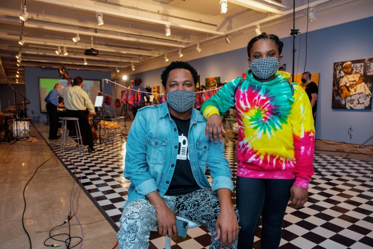 Michael Gardner and his daughter, Ava, at the Fabric Workshop