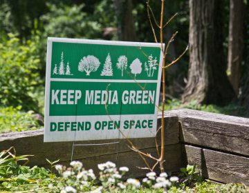 Signs posted in yards around Media, Pa., decry development in the area. (Kimberly Paynter/WHYY)