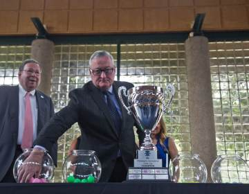 Philadelphia Mayor Jim Kenney was the first to draw teams on June 22, 2021, at the annual bracket determination draw for the International Unity Cup soccer tournament taking place in Philadelphia in fall 2021. (Kimberly Paynter/WHYY)