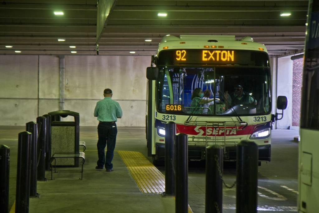 A SEPTA bus sits inside a West Chester transportation center.