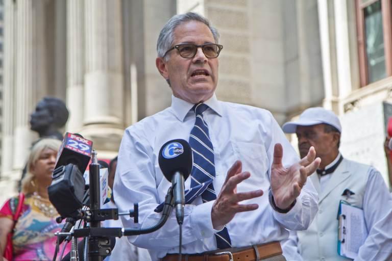 Philadelphia District Attorney Larry Krasner addresses the media at a press conference