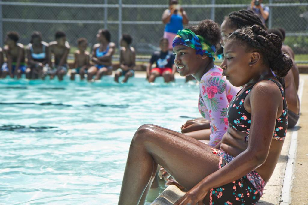 Kids at the James Finnegan Playground pool