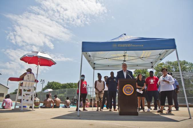 Philadelphia Mayor Jim Kenney and other city officials helped kicked off the opening of pools in Philadelphia at James Finnegan Playground pool in Southwest Philadelphia on June 30, 2021. (Kimberly Paynter/WHYY)