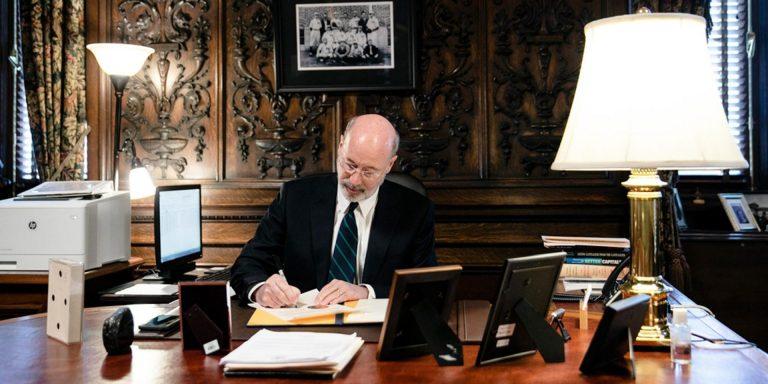 Gov. Tom Wolf signs the coronavirus disaster declaration. (Office of Gov. Tom Wolf)