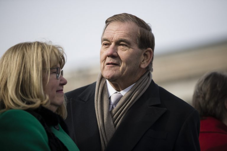 Former Gov. Tom Ridge before Pennsylvania Gov. Tom Wolf takes the oath of office for his second term, on Tuesday, Jan. 15, 2019, at the state Capitol in Harrisburg, Pa. (AP Photo/Matt Rourke)