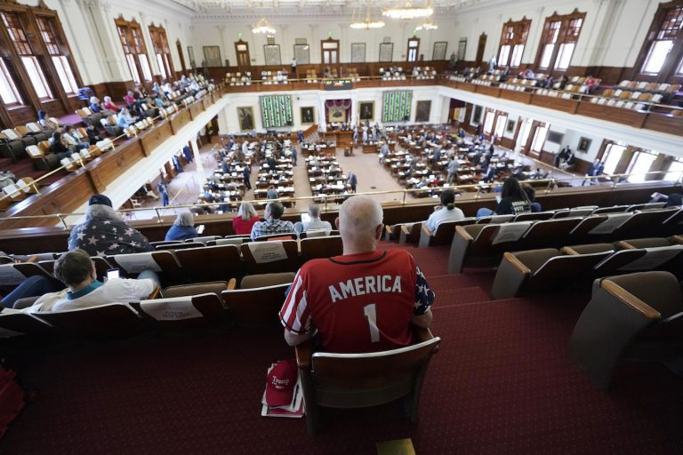 Gerald Welty sits the House Chamber at the Texas Capitol  as he waits to hear debate on voter legislation in Austin, Texas, Thursday, May 6, 2021. (AP Photo/Eric Gay)