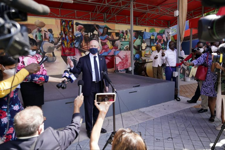Secretary of Homeland Security Alejandro Mayorkas speaks with the news media outside of the Little Haiti Cultural Center, Tuesday, May 25, 2021, in Miami. Mayorkas met with community leaders following the announcement of a new 18-month designation for Haiti for Temporary Protected Status (TPS). (AP Photo/Lynne Sladky)