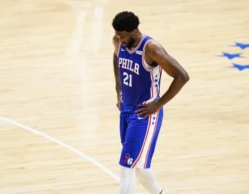 Philadelphia 76ers' Joel Embiid plays during Game 5 in a second-round NBA basketball playoff series against the Atlanta Hawks, Wednesday, June 16, 2021, in Philadelphia. (AP Photo/Matt Slocum)