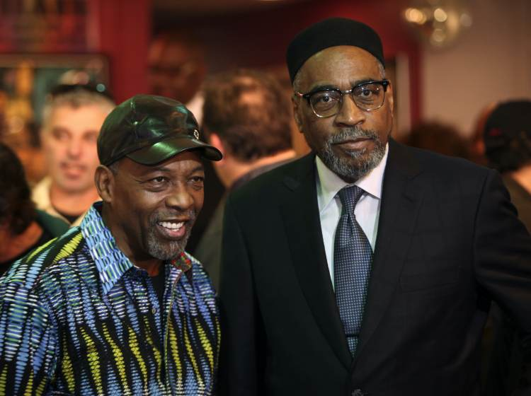Kenny Gamble, right, and Leon Huff pose for a photo