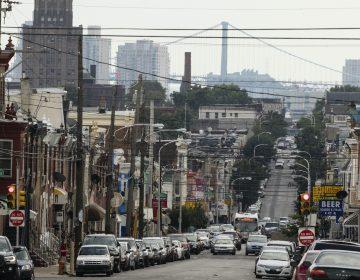 A view looking down Front Street towards the Benjamin Franklin Bridge