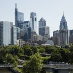 The skyline in Philadelphia is pictured along the Schuylkill River