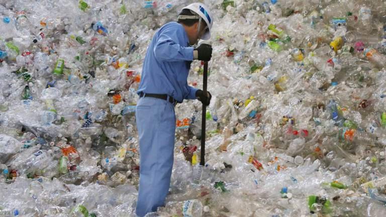 A plastic recycling company worker sorts out plastic bottles
