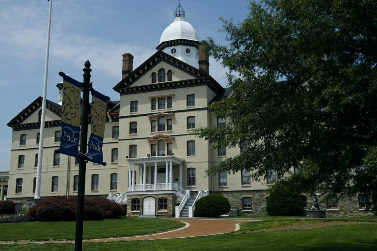 The exterior of a Widener University building on campus