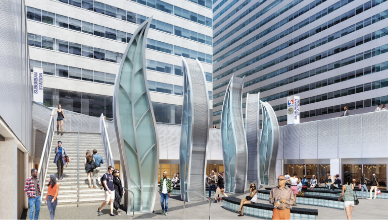 An artist's rendering shows Penn Center's sunken SEPTA transit concourse renovated with public art, seating and retail. (Center City District)