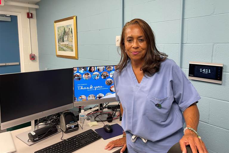 Dr. Coker says staffers will teach people how to use technology to access virtual medical care from home. (Cris Barrish/WHYY)