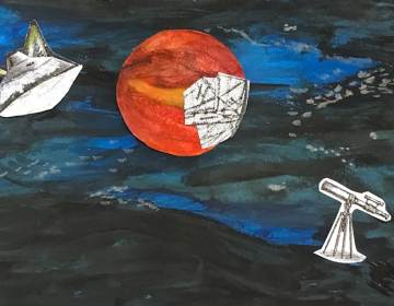 Watercolor of Mars in space with satellites
