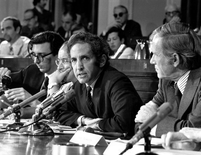 FILE - In this July 28, 1971 file photo, Daniel Ellsberg, former Defense Department researcher who leaked top-secret Pentagon papers to the press, speaks to an unofficial House panel investigating the significance of the war documents in Washington. (AP Photo, file)