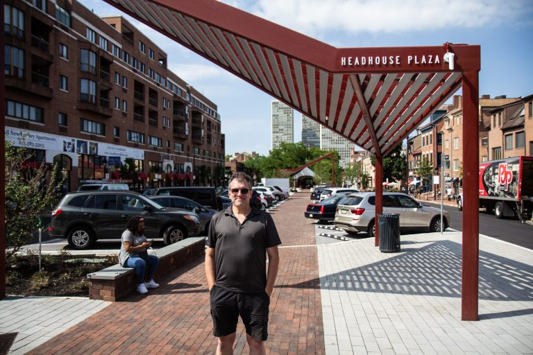 Mike Harris, Executive Director of the South Street Headhouse District, said the redesign of Headhouse Plaza added 8 new ADA ramps, a walkway, expanded curb lines and added lighting to the block. (Kimberly Paynter/WHYY)