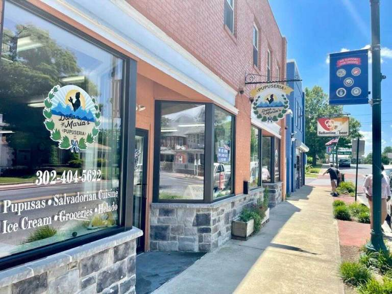Owner of Salvadorian cuisine restaurant Doña Maria's Pupuserias in downtown Seaford Mira Aleman applied for COVID relief under the Payroll Protection Program, but was denied. (Johnny Perez-Gonzalez/WHYY)
